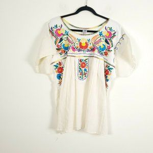 Vintage XL Mexican 100% Cotton Embroidered Top